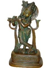 Krishna Brass Statue Playing Flute Hindu God Sculpture 13 Inches