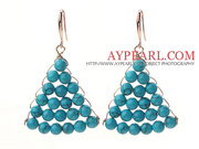 Fashion Style Fan Shape Blue Turquoise Earrings