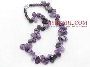 Purple Series Irregular Shape Amethyst and Purple Crystal Necklace