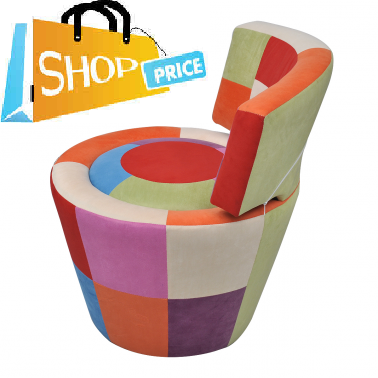 Patchwork Round Chair with Backrest