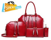 4 PCS Leather Handbag Set,  Tote,  Shoulder Bag,  Clutch Purse Wallet & C