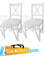 vidaXL 2 pcs White Wood Dinning Chair